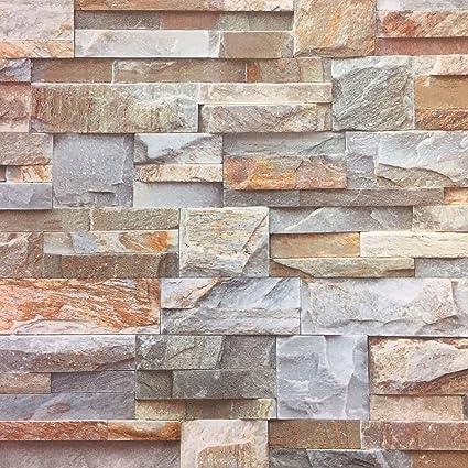 Rocks Stone Slate Wall Textured Brick Effect Feature Wallpaper Grey Beige Brown