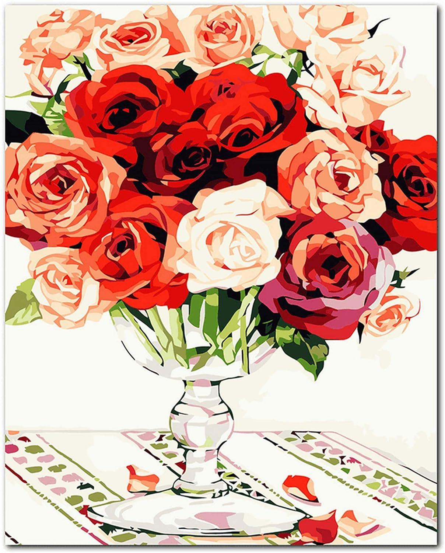 KUNLEE DIY de Pintura de Aceite Digital de Lino Traje de la Flor, Sala de Estar, Dormitorio decoración florero Rosa 40 * 50 cm (sin Marco)