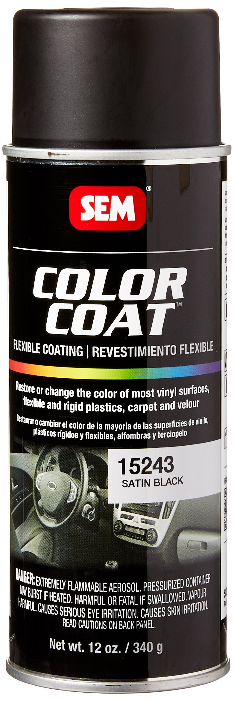 SEM Products 15243 Satin Black Color Coat - 12 oz. by Sem Products