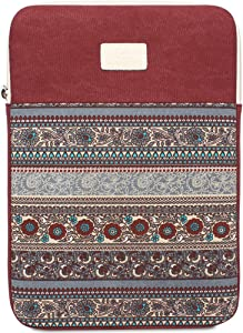 11.6 Inch Laptop Sleeve 11 Inch Bohemian Canvas Protective Notebook Bag Computer Case Cover for MacBook Pro MacBook Air Chromebook Acer Dell HP Samsung Sony (Vertical, Red)