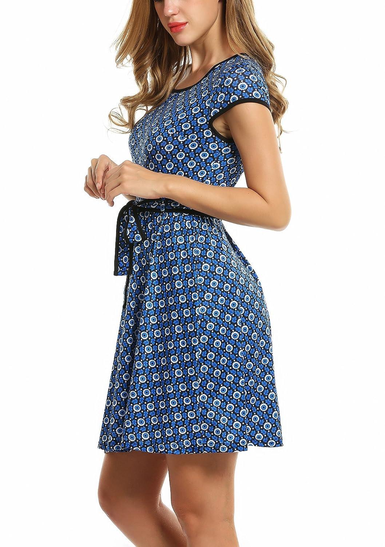 5b832a56b3ce4a Bekleidung Zeagoo Elegant Damen Sommerkleid Vintage Blumen Kleid Partykleid  Jerseykleid A-Linie mit Gürtel