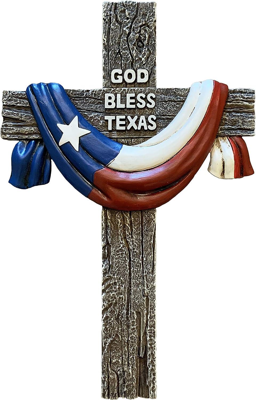 Texas Flag Lone Star Rustic Wall Cross, Realistic Faux Wood - God Bless Texas