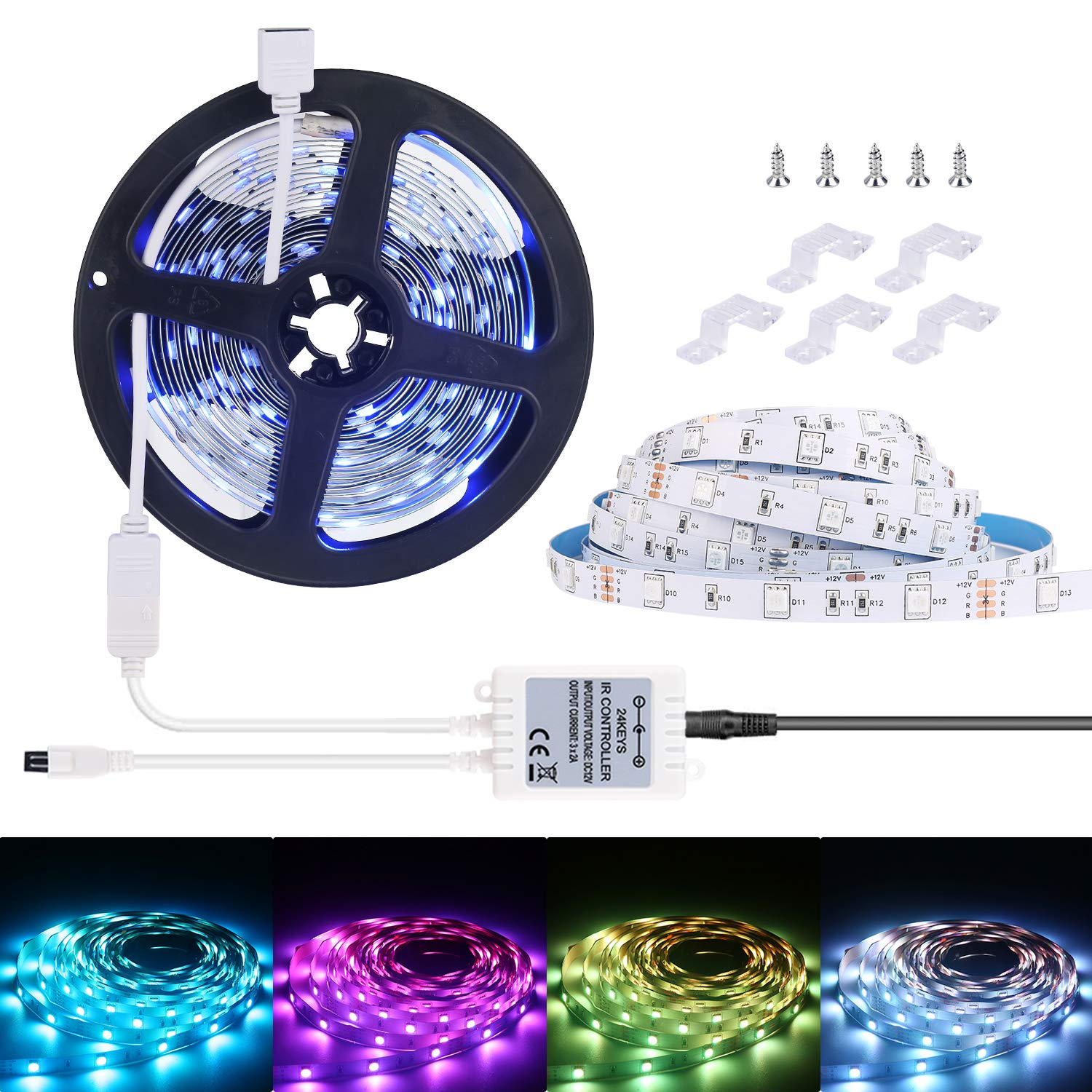 ALED LIGHT LED Flexible Light Strip 32.8Ft//2x5M 5050 150LEDs Non-Waterproof RGB Strip Lighting with Remote DC 12V Power Supply for DIY//Christmas//Party//Decoration LED Strip Lights Kit 2 Pack