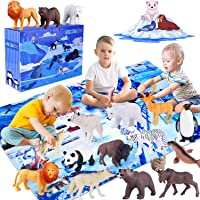 GiftInTheBox Polar Animal Figurines Toys with Large Activity Play Mat, Educational Realistic Animal Figures Toys Playset with Penguin, Panda, Wolf, Polar Bear, Gift for Kids, Toddler, Boys & Girls …