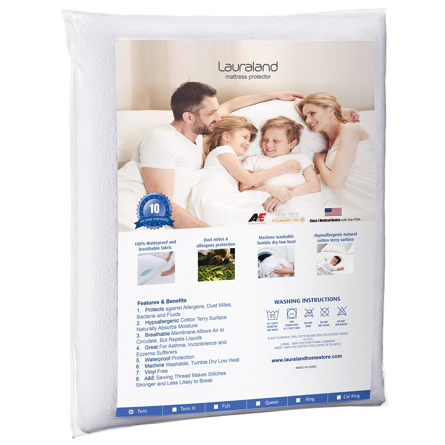 Lauraland Twin Size Mattress Protector, Hypoallergenic Waterproof Mattress Protector, Vinyl Free MS-PCTWMP-TWIN