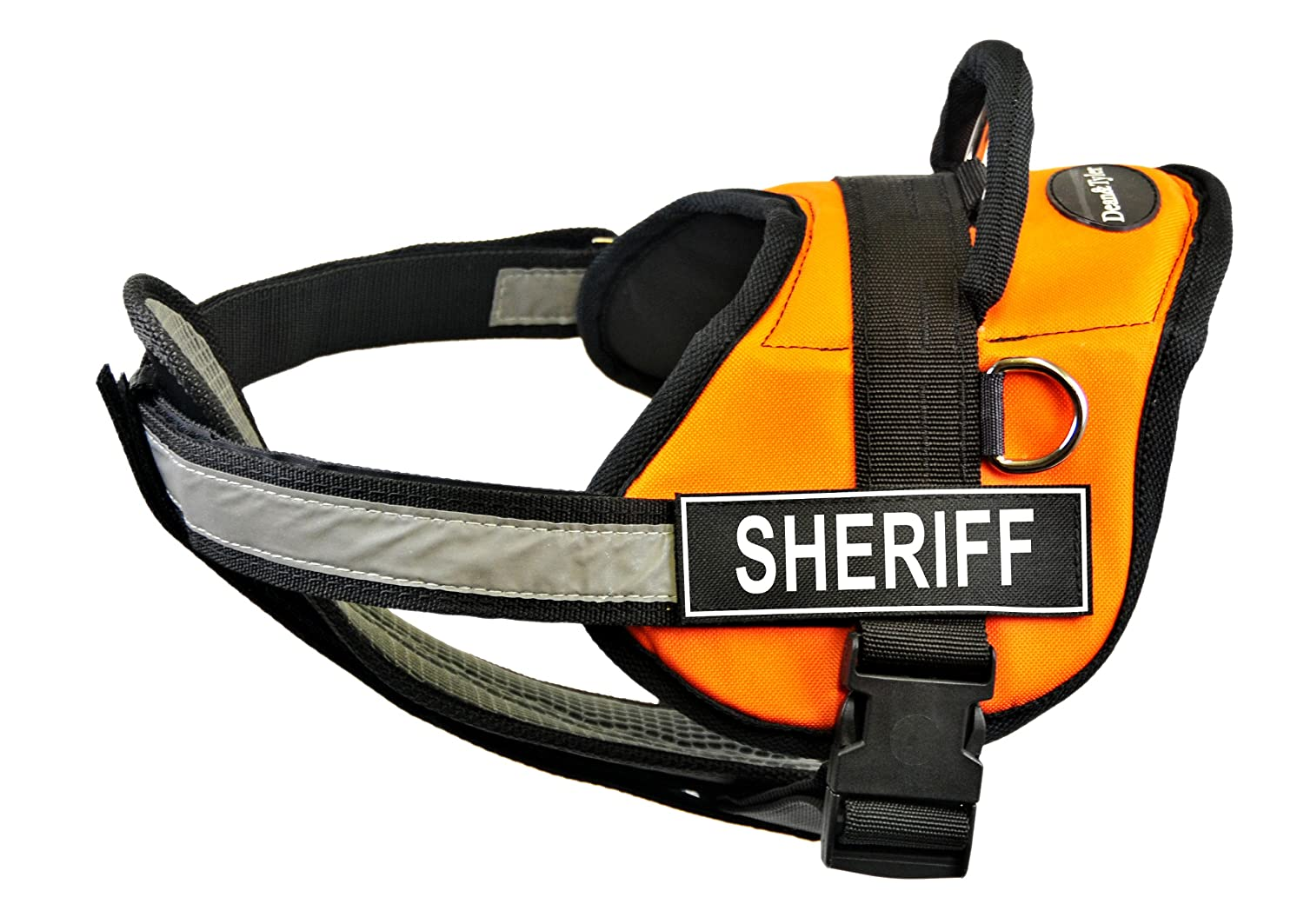 Dean & Tyler 28-Inch to 38-Inch Sheriff Dog Harness with Padded Reflective Chest Straps, Medium, orange Black