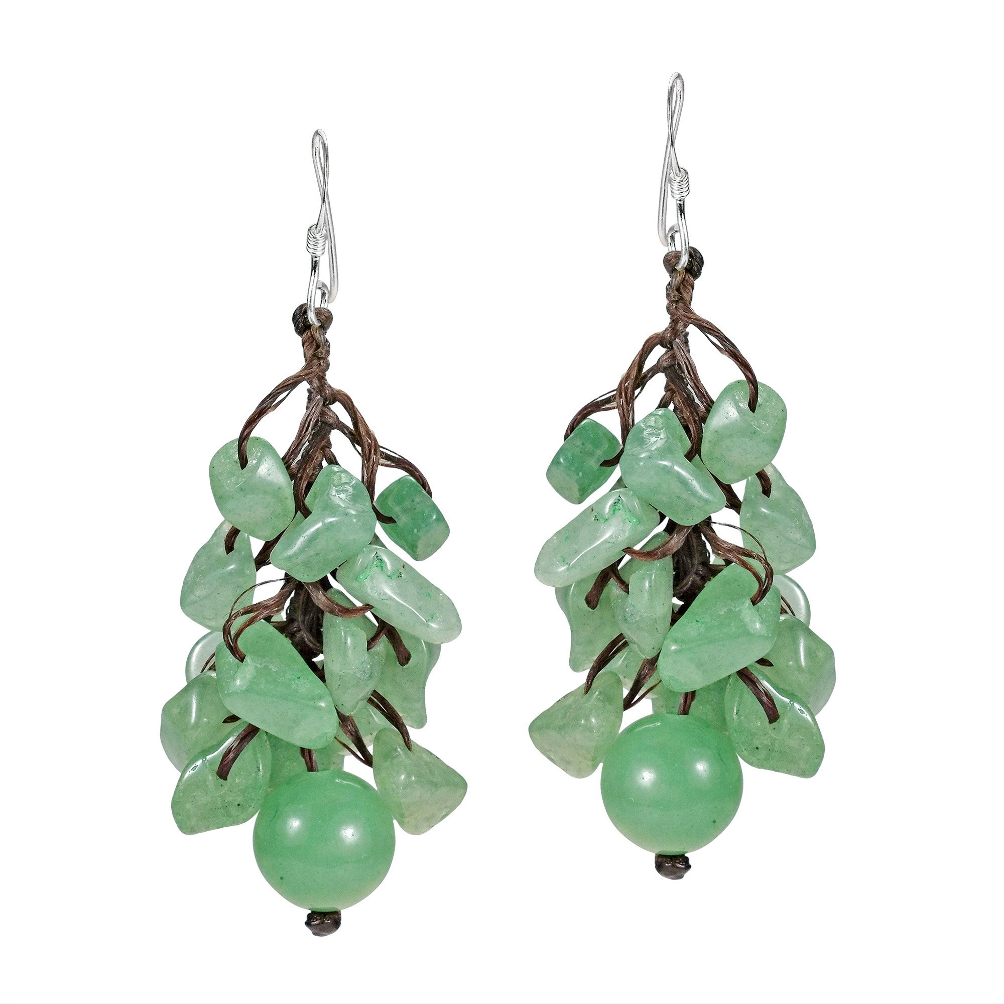 Dangle Cluster Ball Simulated Aventurine Sterling Silver Earrings by AeraVida (Image #1)