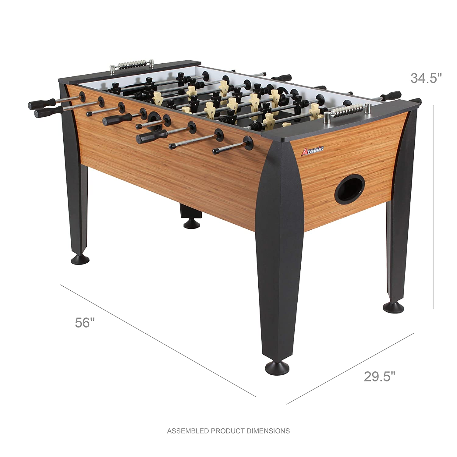 Atomic Pro Force 56 Foosball Table With Internal Ball Return And Ball Entry Leg Levelers And Heavy Duty Legs