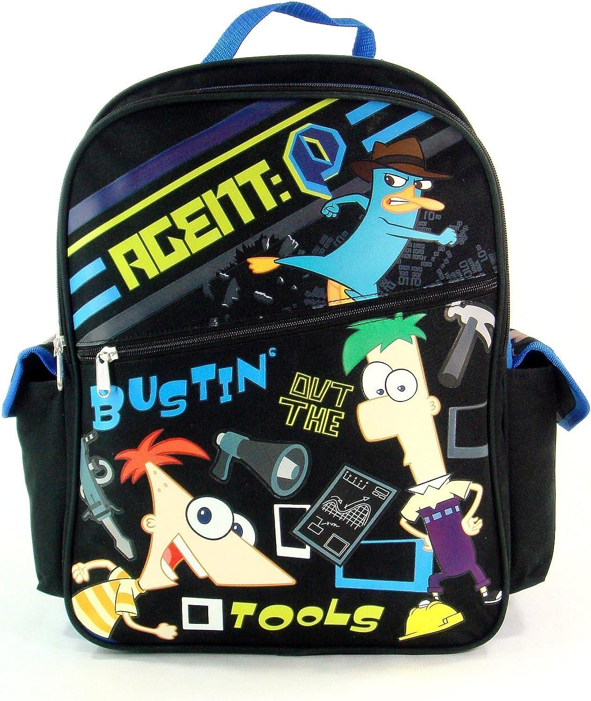 "Disney Phineas and Ferb 16/"" Kids School Backpack Boys Large Book Bag Original"