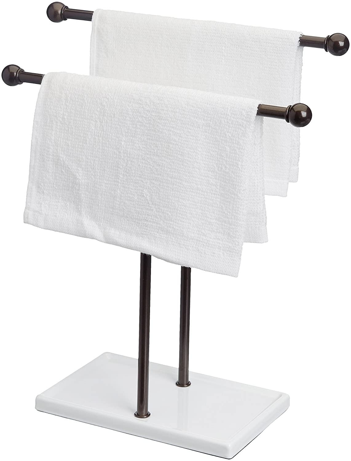 Amazon.com: AmazonBasics Double-T Hand Towel and Accessories Stand - Bronze/White: Home & Kitchen
