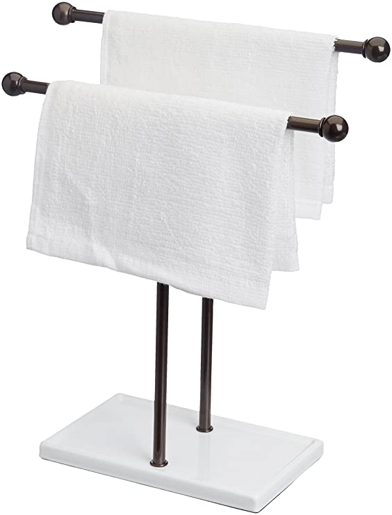 Amazon.com: AmazonBasics Double-T Hand Towel and Accessories Stand - Bronze/White: Home & Kitchen