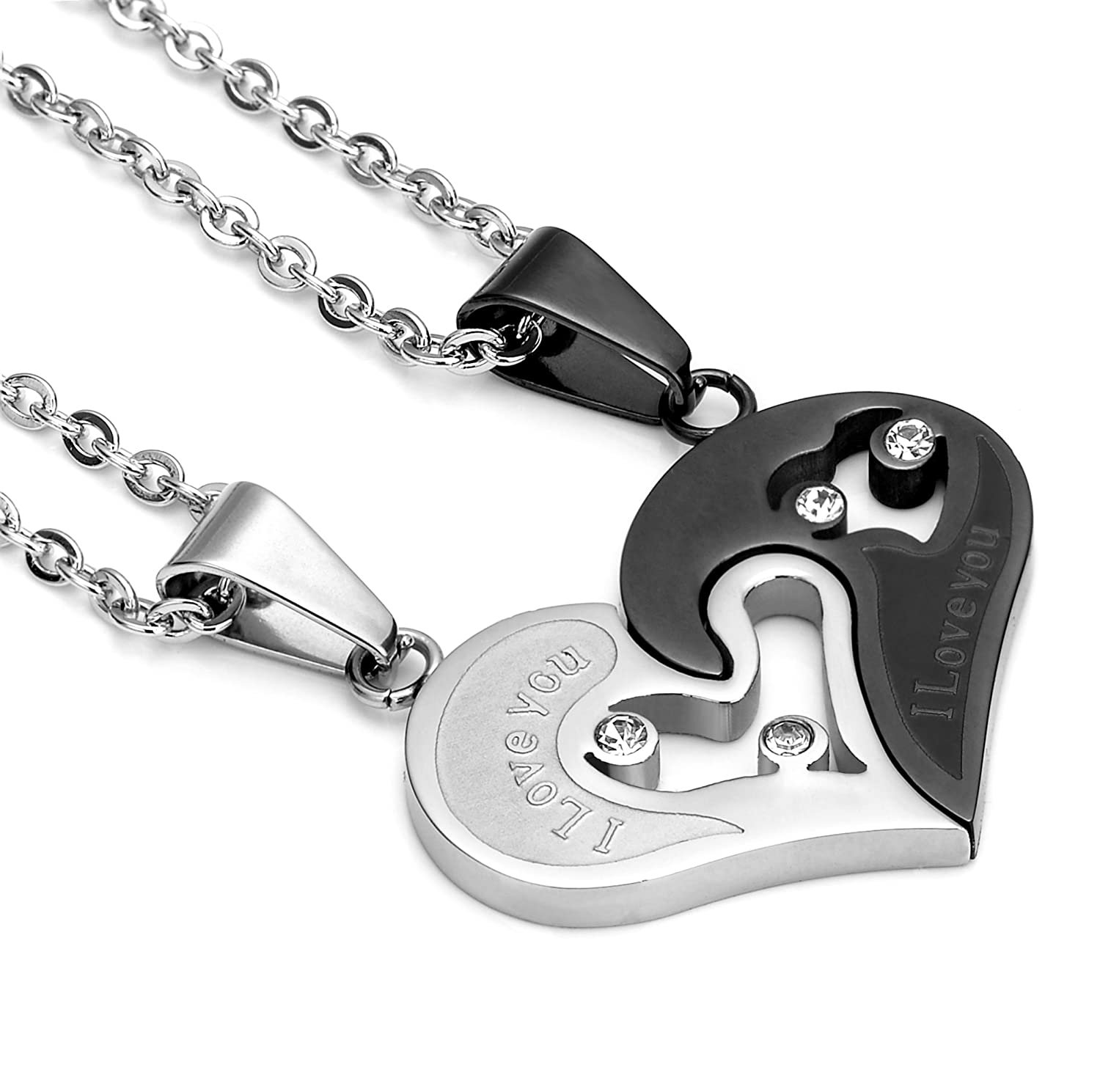 Jstyle stainless steel mens womens couple necklace pendant love jstyle stainless steel mens womens couple necklace pendant love heart cz puzzle matching amazon aloadofball
