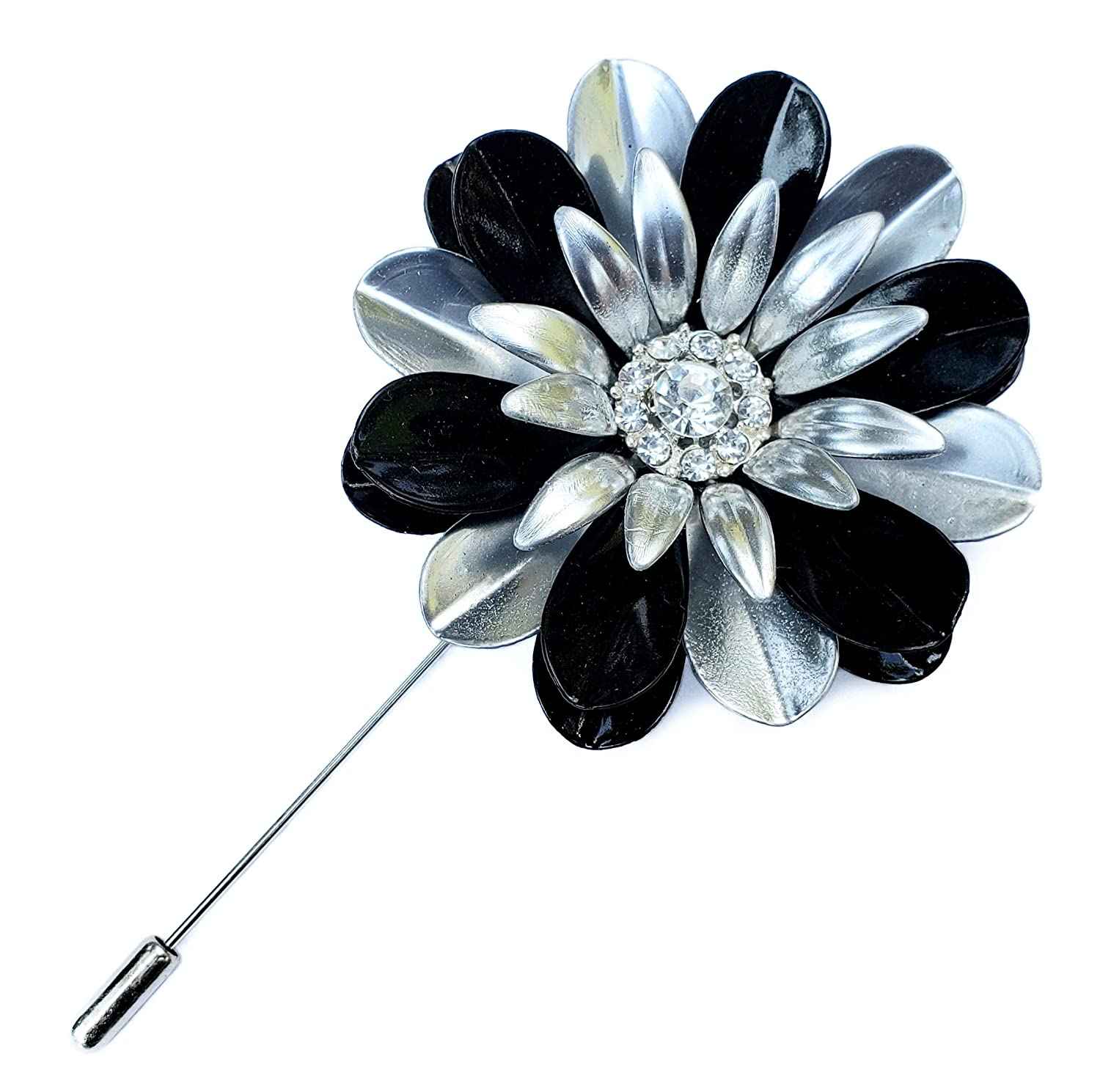 B015UV27RM Large Black and Silver Painted Metal Flower Lapel Pin 81cx7YcbIuL