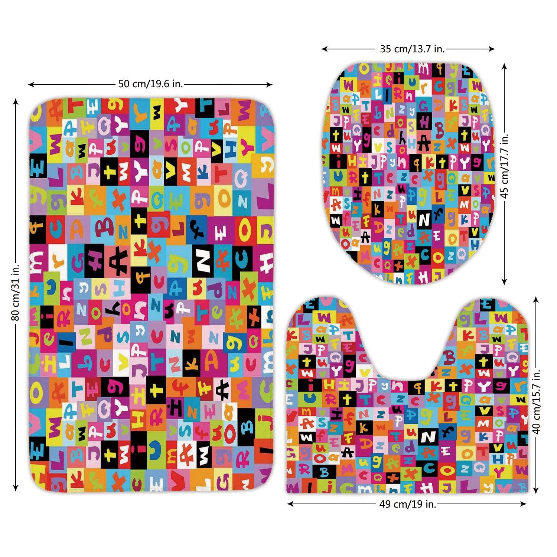 3 Piece Bathroom Mat Set,Abstract,Colored Alphabet Letters Pattern Education School Puzzle Children Graphic Print,Multicolor,Bath Mat,Bathroom Carpet Rug,Non-Slip