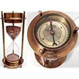 """7"""" Nautical Brass Sand Timer Hourglass with Maritime Brass Compass Table Decorative"""