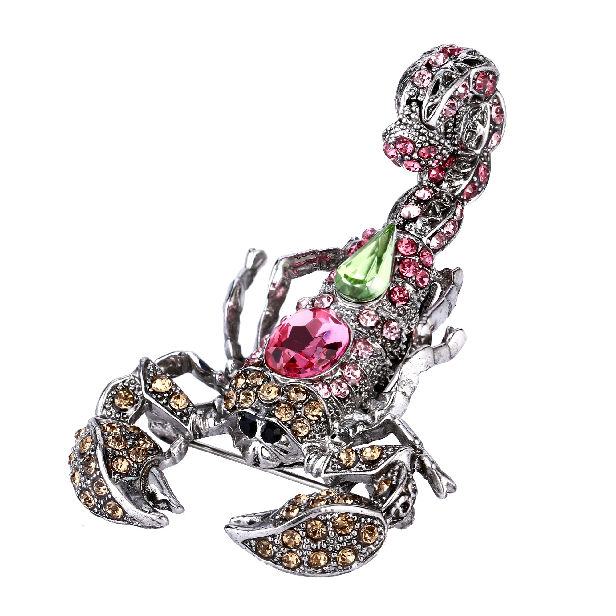 EVER FAITH Crystal Vintage Style Scorpion Animal Brooch Pink w/ Apple Green Antique Silver-Tone