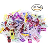 Pack of 100 Sewing Clips Multicolor for Sewing Craft Clamps, Crafting, Crochet and Knitting, All Purpose Clips for Quilting Binding Clips, Fabric Clips, Paper Clips, Blinder Clips by Attmu