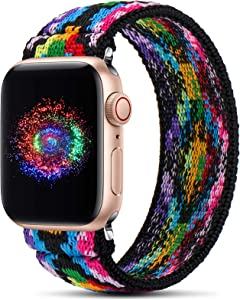 GeekSpark Elastic Band Compatible for Apple Watch Bands 38mm 40mm 42mm 44mm Stretchy Loop Strap Replacement Wristband for iwatch Series 6/SE/5/4/3/2/1(Aztec Style Colorful M/L 42mm/44mm)