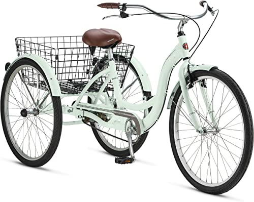 Adult Schwinn Tricycle Three 3 Wheeled Trike Men s Women s Bicycle Red Mint Green Blue Silver Grey Bike with Metal Wire Shopping Basket Beach Cruiser