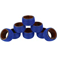 Handmade Indian Blue Aluminum Ball Chain Wooden Napkin Rings - Set of 8 Rings