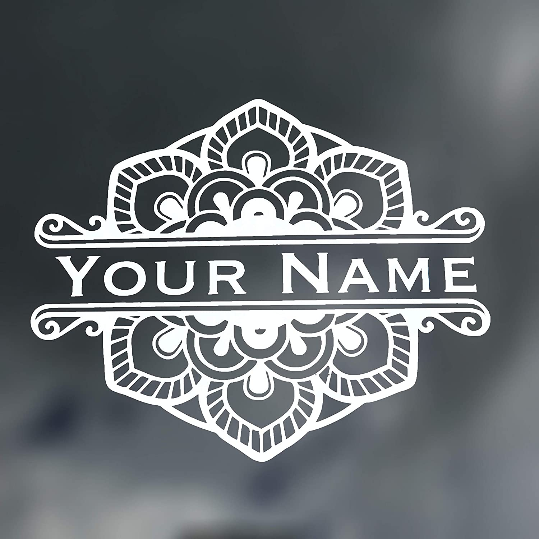 Custom Mandela Flower Name Monogram Vinyl Decal Initial Bumper Sticker For Tumblers Laptops Car Windows Name Sticker