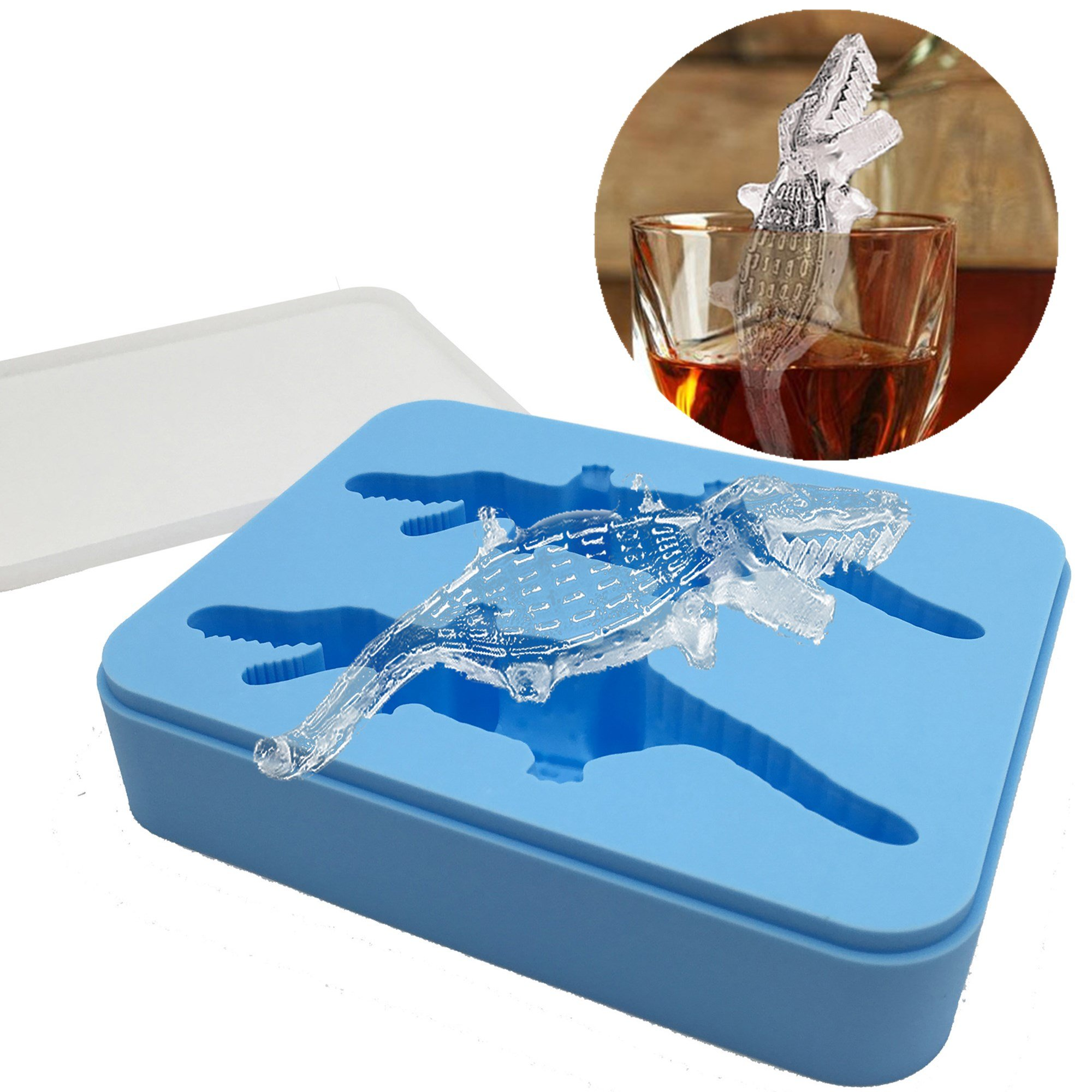 Keypro Crocodile-Shaped Silicone Ice Mold with Lid, Flexible Ice Mold Tray, BPA Free, Makes Slowly-Melted Ice for Cooled Drinks, Ice Mold for Whiskey, Silicone Ice Mold Animals, Tool Gift (Light Blue) by Keypro