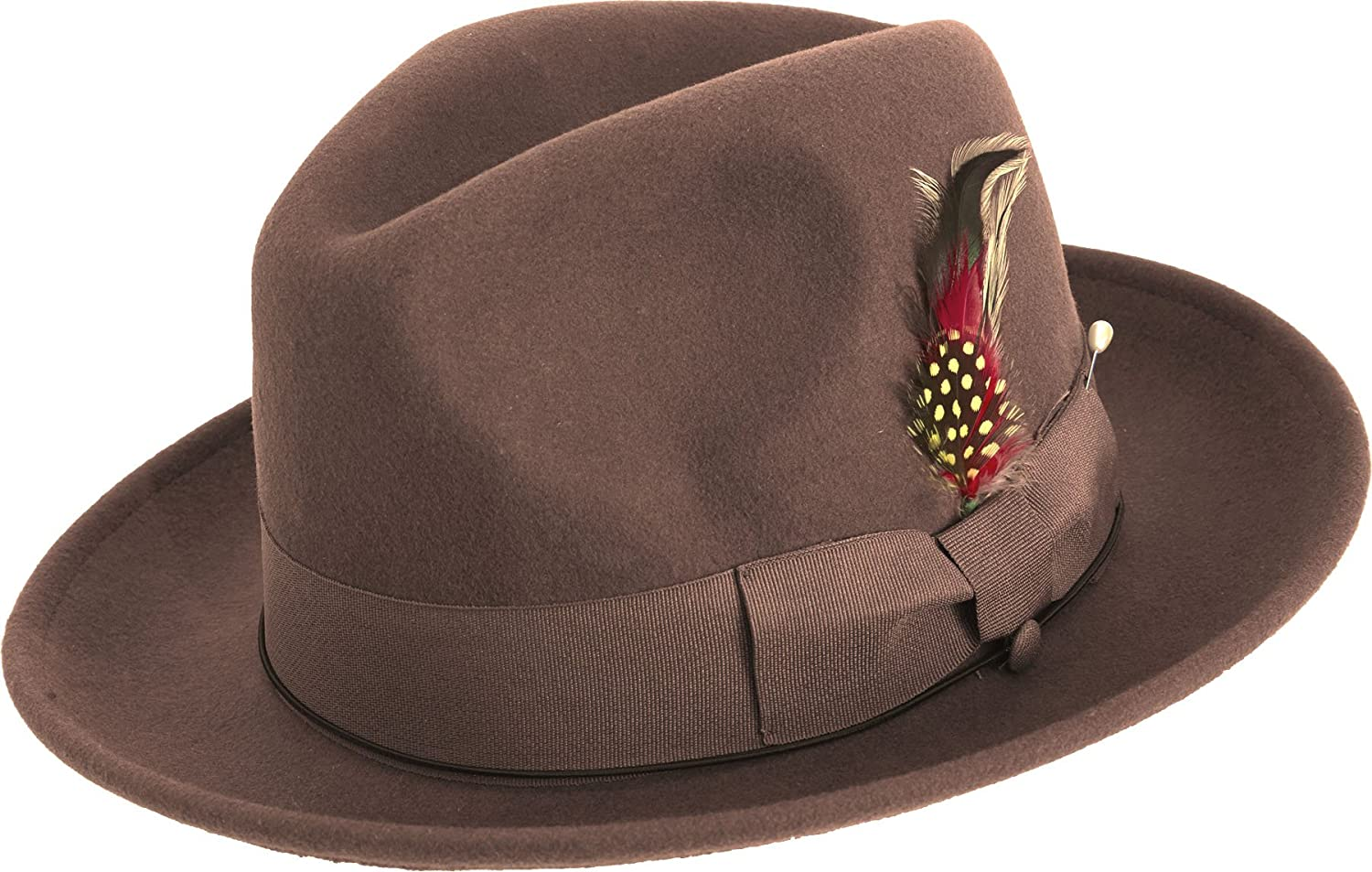 dbcc503f2755a MONTIQUE Untouchable Fine Felt Pinch Fedora Gangster Hat at Amazon Men s  Clothing store  Fedoras