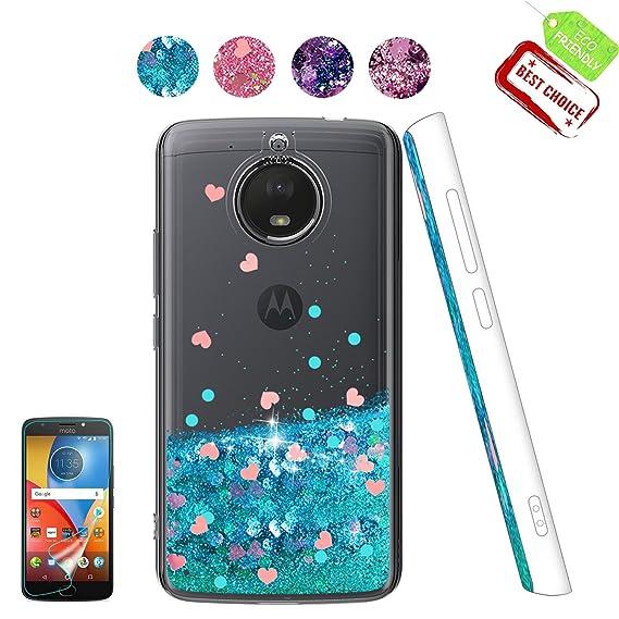 on sale 8520b 7cb60 Moto E4 Plus Case, Moto E4 Plus Glitter Case, Liquid Glitter Cute TPU Phone  Cover with HD Screen Protector, Bling Bumper Flowing Sparkly Protective ...