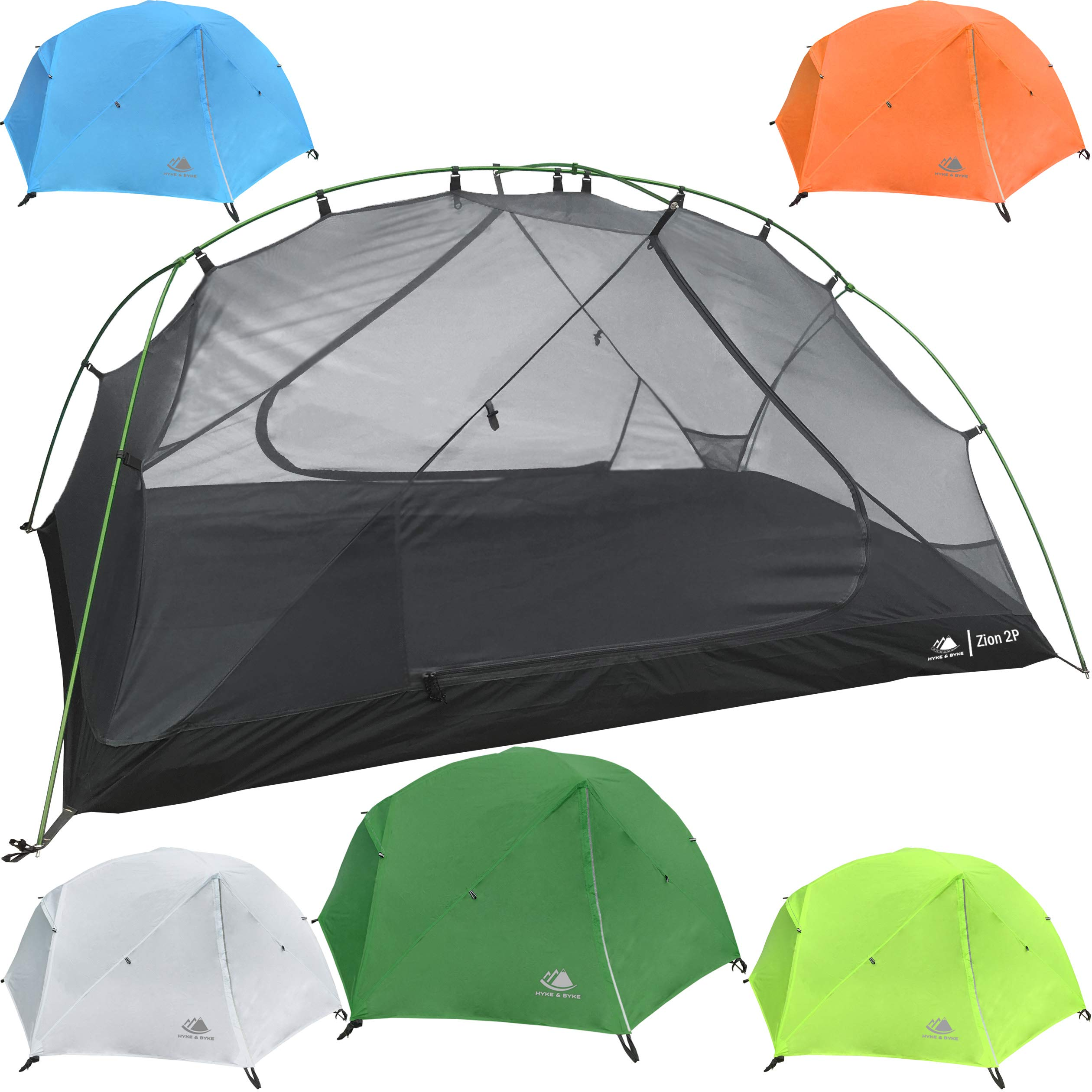 Hyke & Byke 2 Person Backpacking Tent with Footprint - Lightweight Zion Two Man 3 Season Ultralight, Waterproof, Ultra Compact 2p Freestanding Backpack Tents for Camping and Hiking (Forest Green) by Hyke & Byke