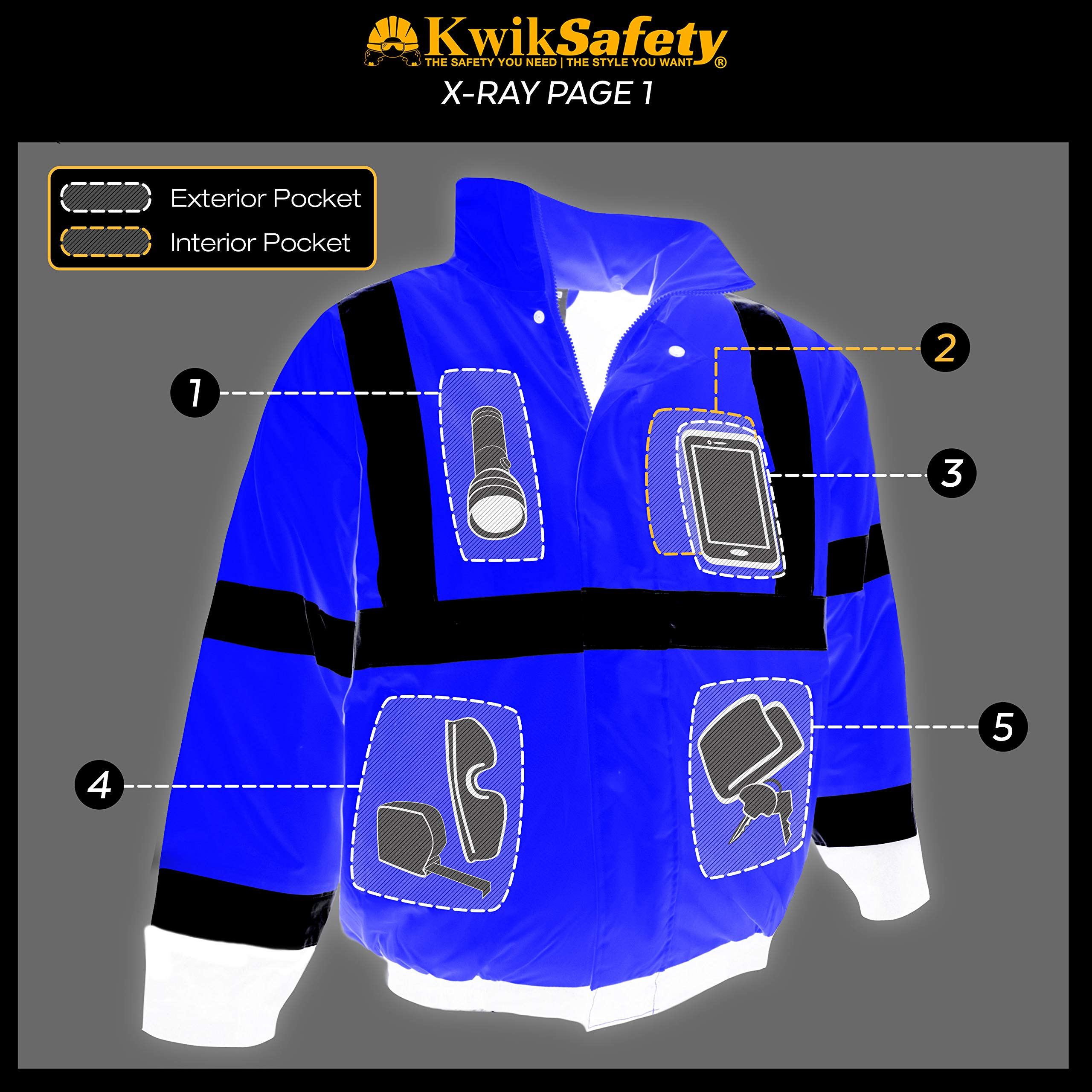 KwikSafety (Charlotte, NC) GUARD   Class 3 Black Cuff Safety Bomber Jacket   High Visibility ANSI OSHA PPE   Foldable Hood Reflective Winter Water Resistant Construction Workwear Men   X-Large by KwikSafety (Image #7)