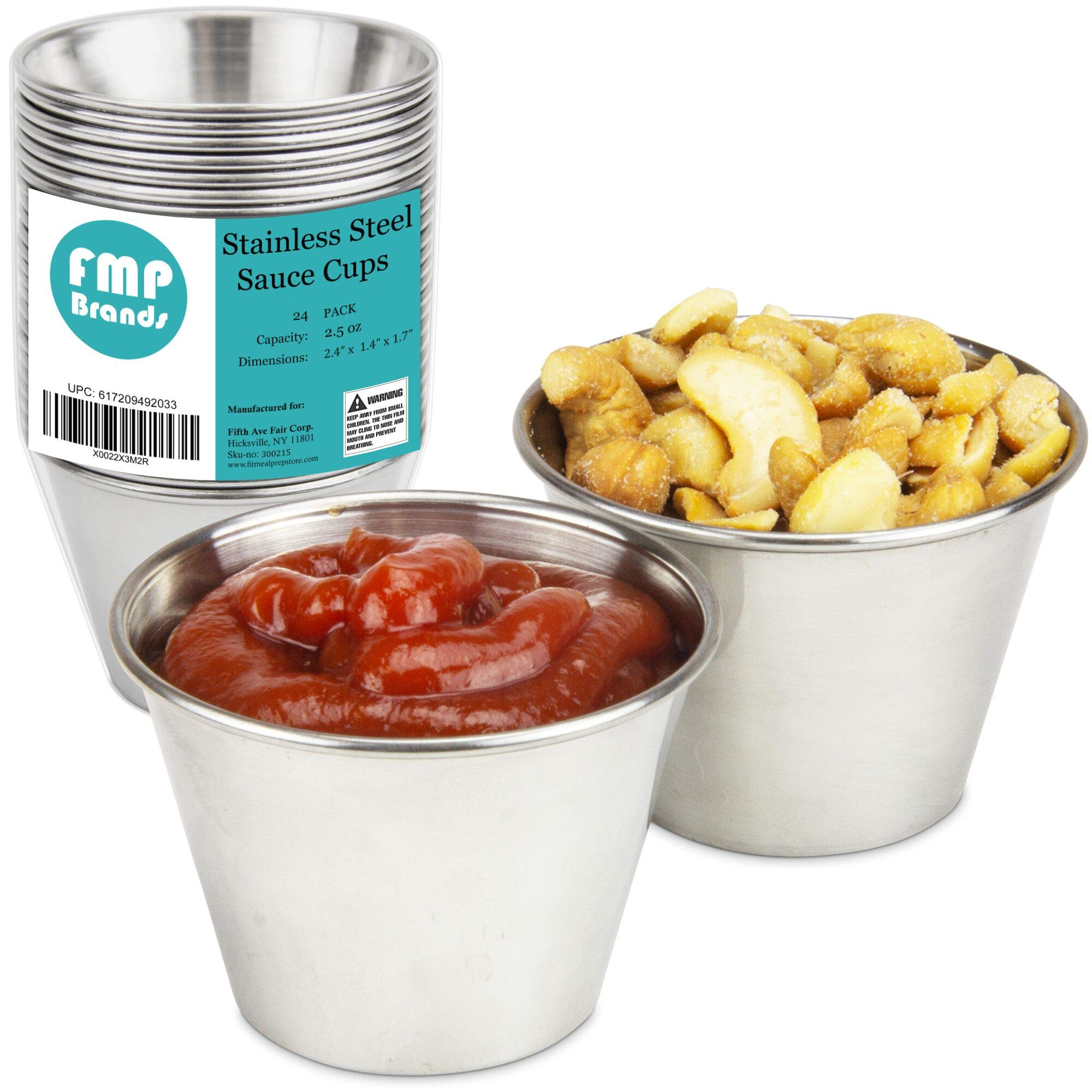 [24 Pack] 2.5 oz Stainless Steel Sauce Cups - Individual Round Condiments Ramekins, Commercial Grade Safe/Portion Dipping Sauce Kitchen Set by Fit Meal Prep