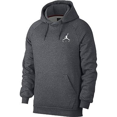743e74728786 Jordan Nike Mens Jumpman Fleece Pull Over Hoodie Carbon Heather White  940108-091 Size