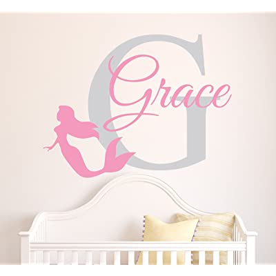 Custom Mermaid Name Wall Decal - Baby Girl Room Decor - Nursery Wall Decals - Mermaid Wall Decal Vinyl Sticker: Baby
