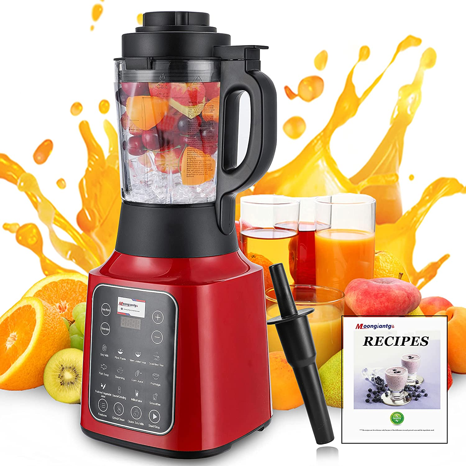 Professional Blender for Smoothies and Shakes Countertop Kitchen Blender with 13 Preset Touch 59 Oz Glass Jar Touch Panel Quiet High Speed Motor for Ice Fruit Juice Soup Nut Butter Red 110V