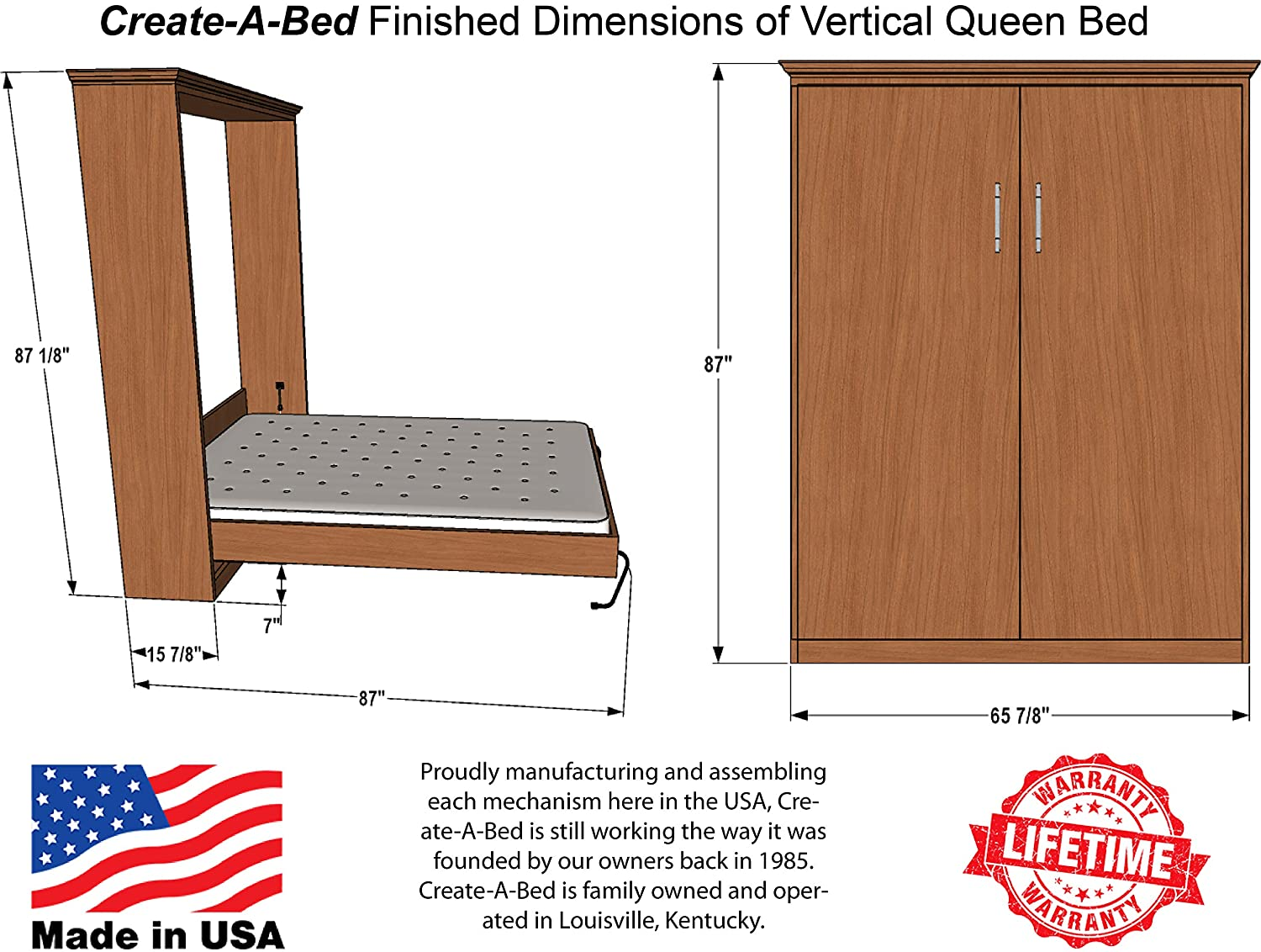 98c1ba1a08e1 Amazon.com: Queen-Size Deluxe Murphy Bed Hardware Kit, Vertical: Kitchen &  Dining