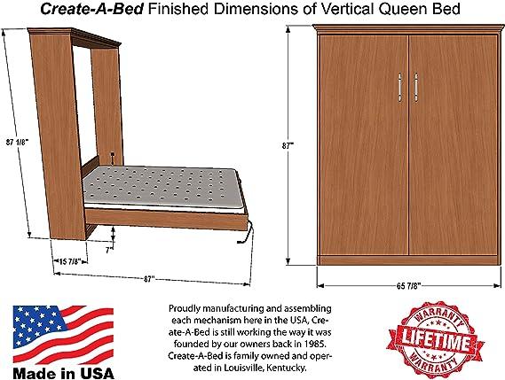 Size Of Queen Bed.Queen Size Deluxe Murphy Bed Hardware Kit Vertical