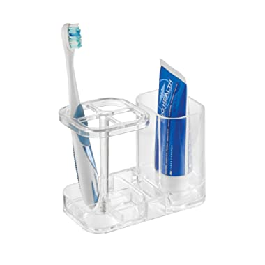 mDesign Bathroom Vanity Countertop Acrylic Toothpaste & Toothbrush Holder Stand with Cup/Dental Center, Holds Electric Toothbrushes - BPA Free, Clear