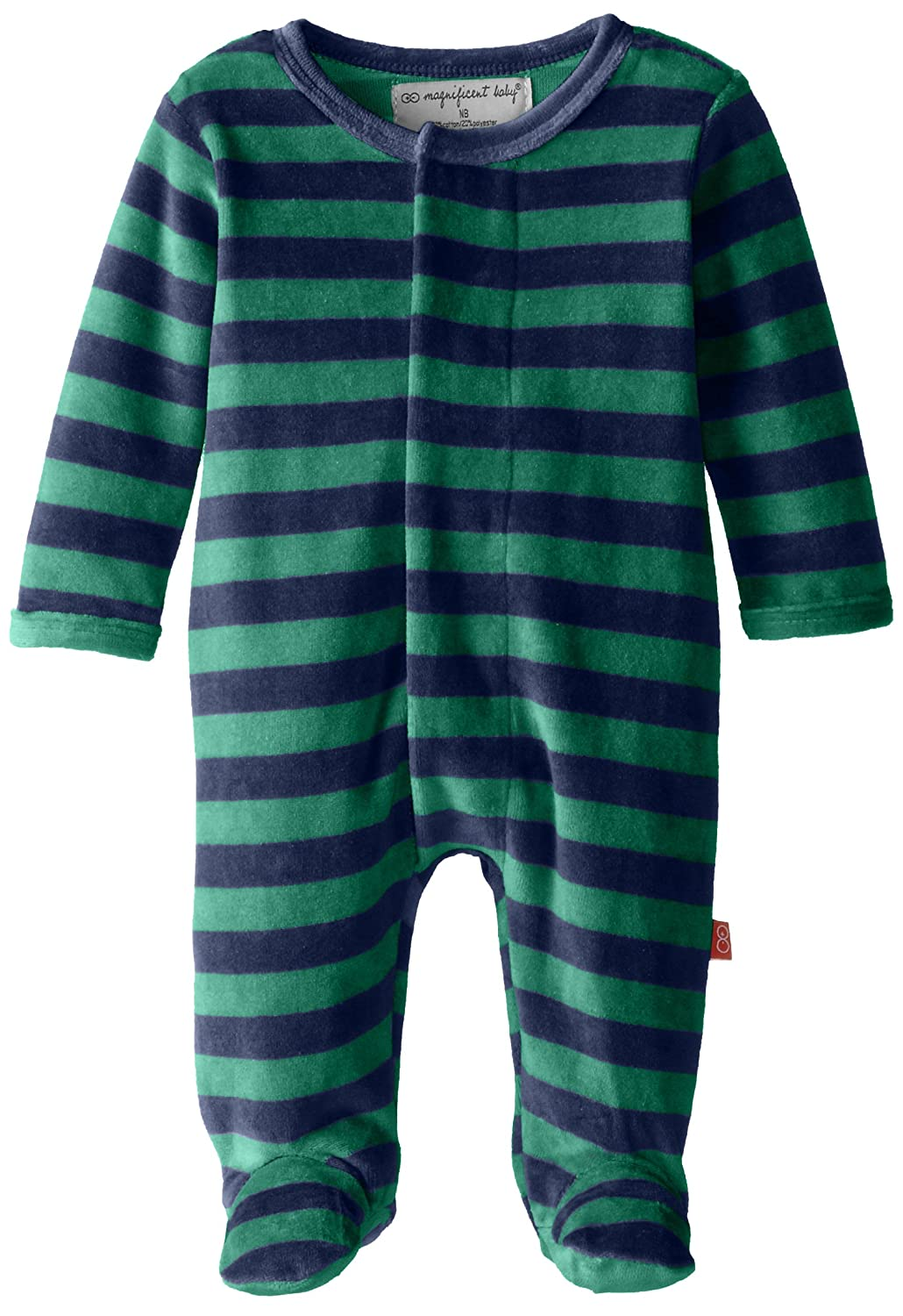 Magnificent Baby Baby-Girls Infant Velour Footie, Green/Navy, 9 Months 8014-B