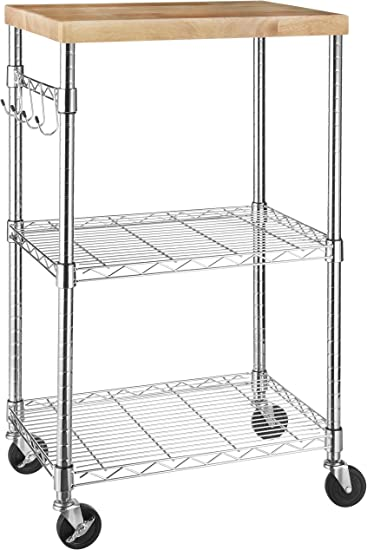 AmazonBasics Kitchen Rolling Microwave Cart on Wheels, Storage Rack, Wood/Chrome