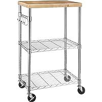 Amazon Basics Kitchen Storage Microwave Rack Cart on Caster Wheels, Adjustable Shelves, 175-Pound Capacity - Chrome/Wood