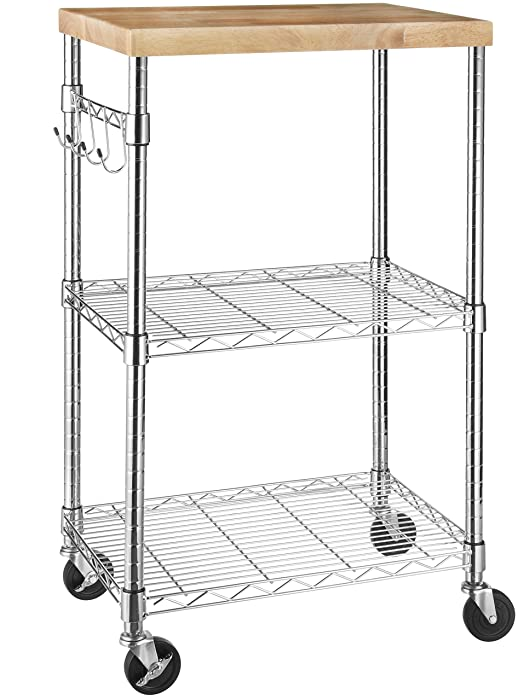AmazonBasics Microwave Cart on Wheels, Wood/Chrome