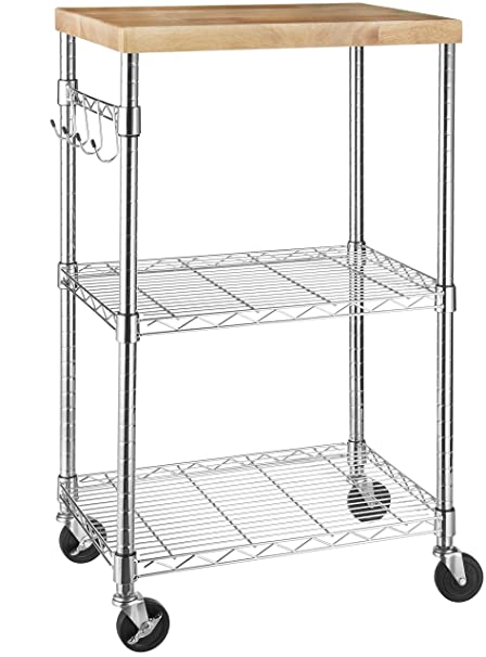 AmazonBasics Kitchen Rolling Microwave Cart on Wheels, Storage Rack,  Wood/Chrome
