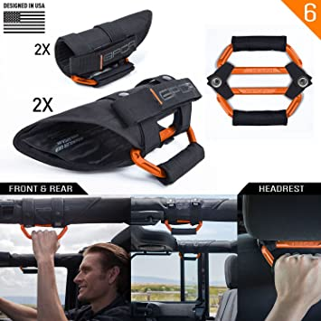 Universal to Driver and passengers Sides GPCA GP-Grip PRO Grab Handle for Jeep Wrangler JL JT JK Sport Sahara Rubicon Gladiator 4DR// 2DR 2007-2020 w// 3 roll bar 4 Pack Jet Black