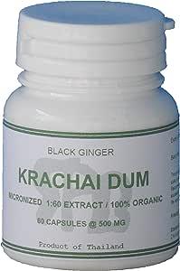 60 Capsules, 500 mg of Tongkatali.org's 1:60 Krachai Dum Extract