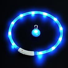 amathings LED Visio Mega Set Edition 2017 Halsband In Verschiedenen Farben Und LED Clip Deluxe Für Hunde Und Katzen Universell Kürzbar, Halsumfang Bis 55 cm