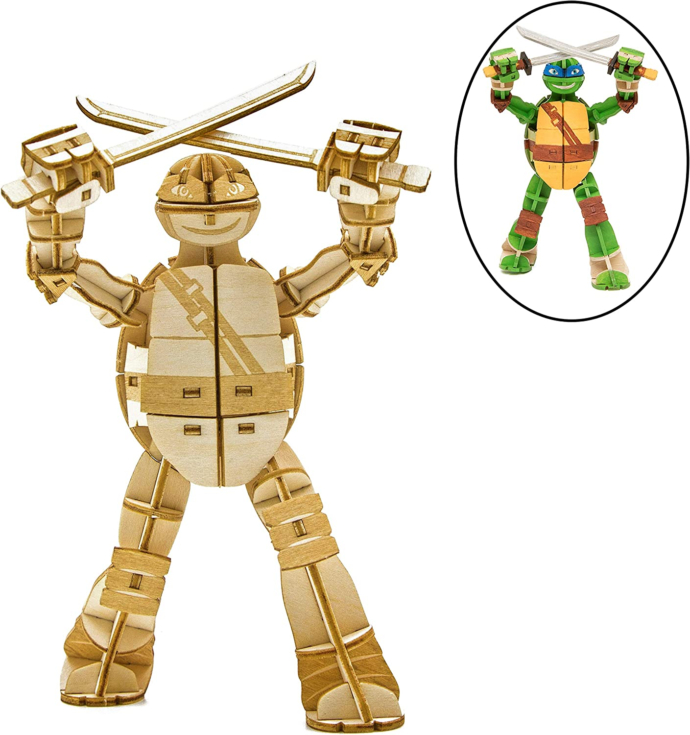 """Teenage Mutant Ninja Turtles Leonardo 3D Wood Model Figure Kit - Build, Paint and Collect Your Own Wooden Toy Model - Great for Kids and Adults, 12+ - 5.5"""""""