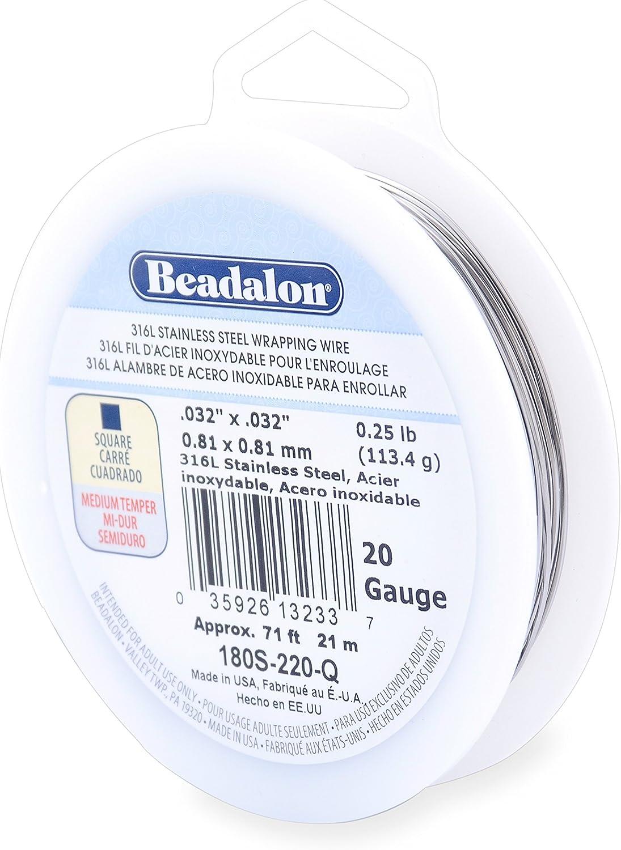 22 Gauge 286 feet Beadalon 316L Stainless steel Wrapping Wire 1//4 Pound Half Round