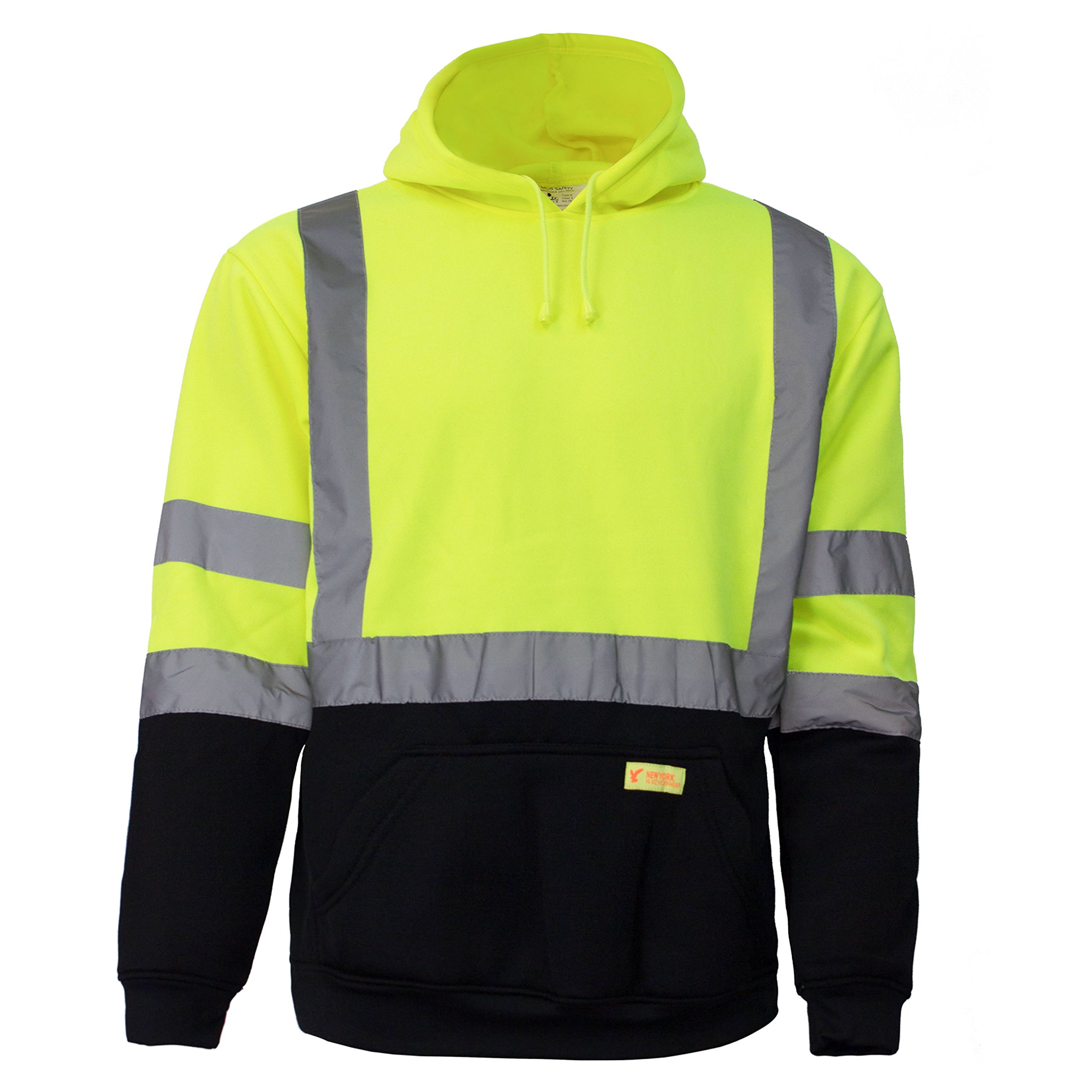 New York Hi-Viz Workwear H8312 Men's ANSI Class 3 High Visibility Class 3 Sweatshirt, Hooded Pullover, Knit Lining, Black Bottom (Lime, Large) by New York Hi-Viz Workwear (Image #7)