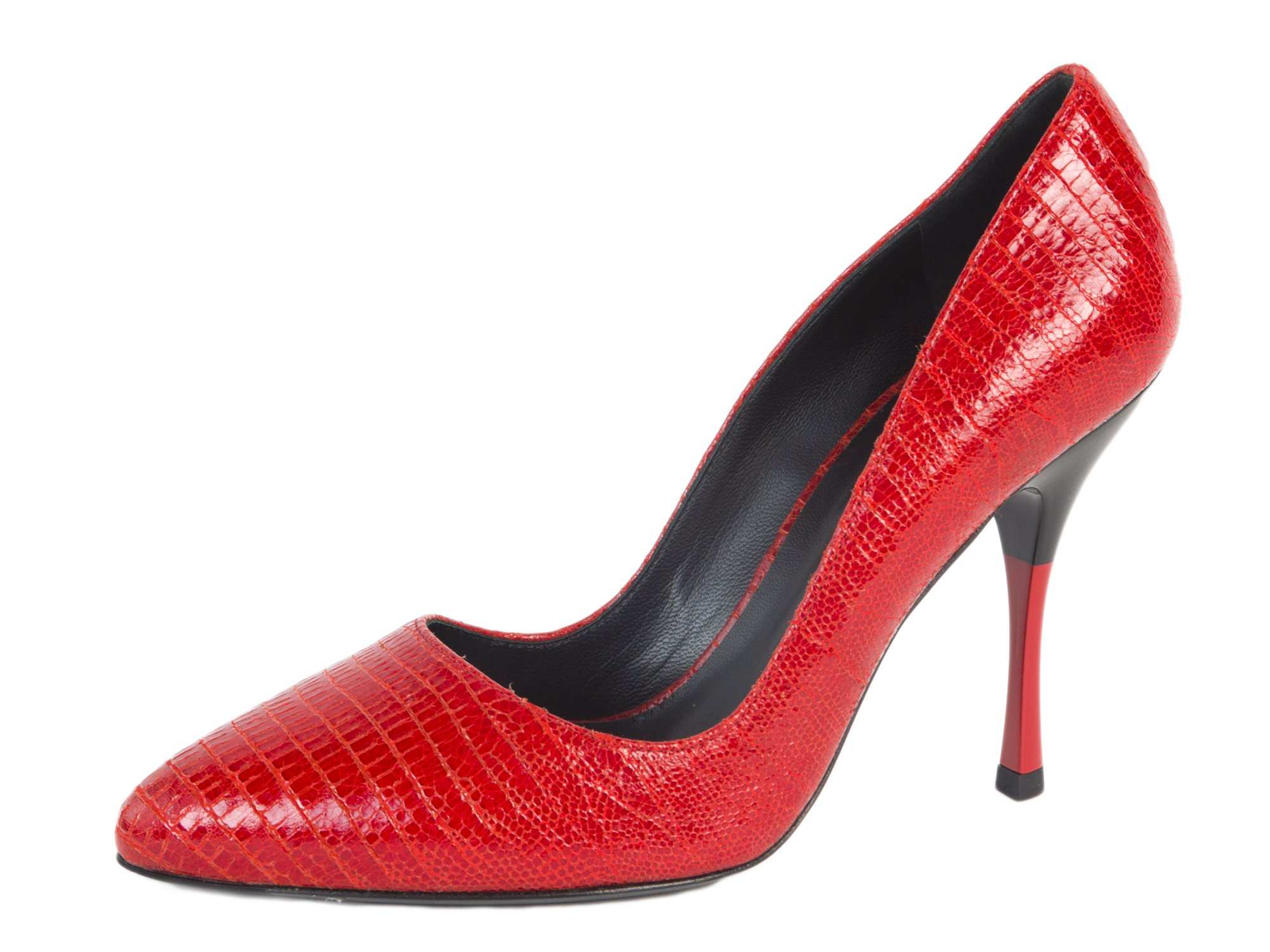 MaxMara Women's Onde Reptile Embossed Leather Pumps US 7/IT 37 Red