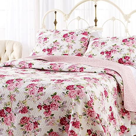 Amazon.com: Laura Ashley Lidia Quilt Set, Pink, Full/Queen: Home ... : amazon bed quilts - Adamdwight.com
